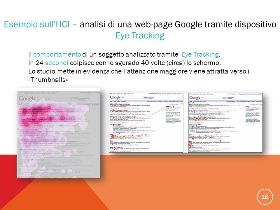 18 Esempio sullHCI – analisi di una web-page Google tramite dispositivo Eye Tracking ll comportamento di un soggetto analizzato tramite Eye Tracking.