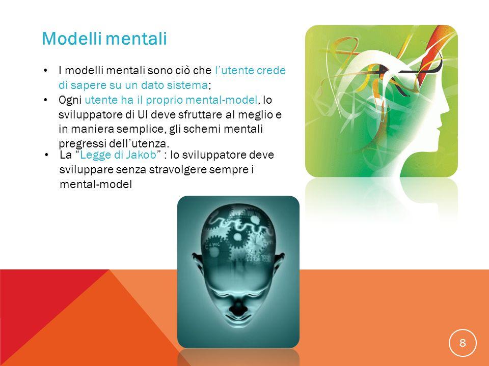 8 Modelli mentali I modelli mentali sono ciò che lutente crede di sapere su un dato sistema; Ogni utente ha il proprio mental-model, lo sviluppatore d