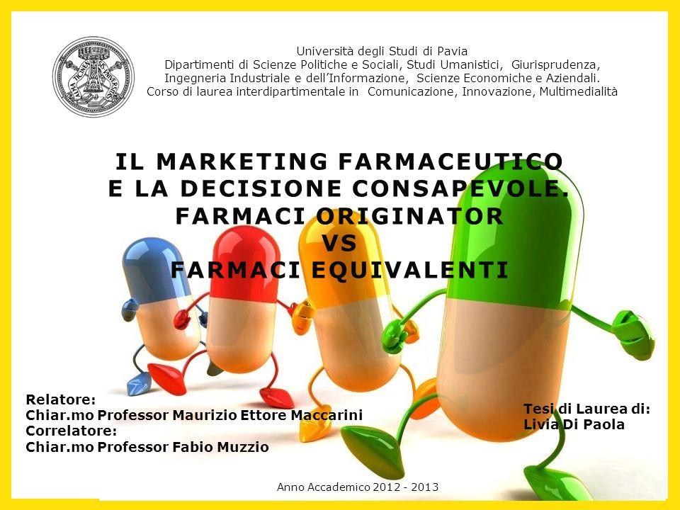 IL MARKETING FARMACEUTICO E LA DECISIONE CONSAPEVOLE. FARMACI ORIGINATOR VS FARMACI EQUIVALENTI Università degli Studi di Pavia Dipartimenti di Scienz