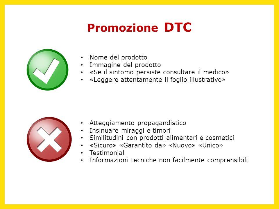 Promozione DTC Nome del prodotto Immagine del prodotto «Se il sintomo persiste consultare il medico» «Leggere attentamente il foglio illustrativo» Att