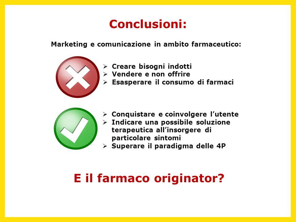 Conclusioni: E il farmaco originator? Marketing e comunicazione in ambito farmaceutico: Conquistare e coinvolgere lutente Indicare una possibile soluz