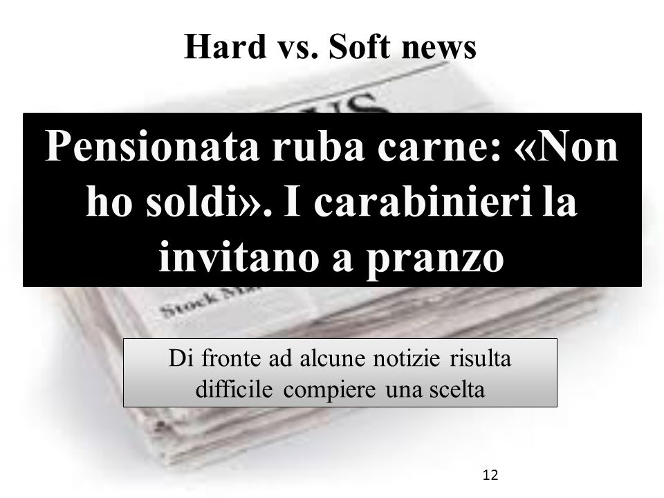 12 Hard vs. Soft news Pensionata ruba carne: «Non ho soldi».