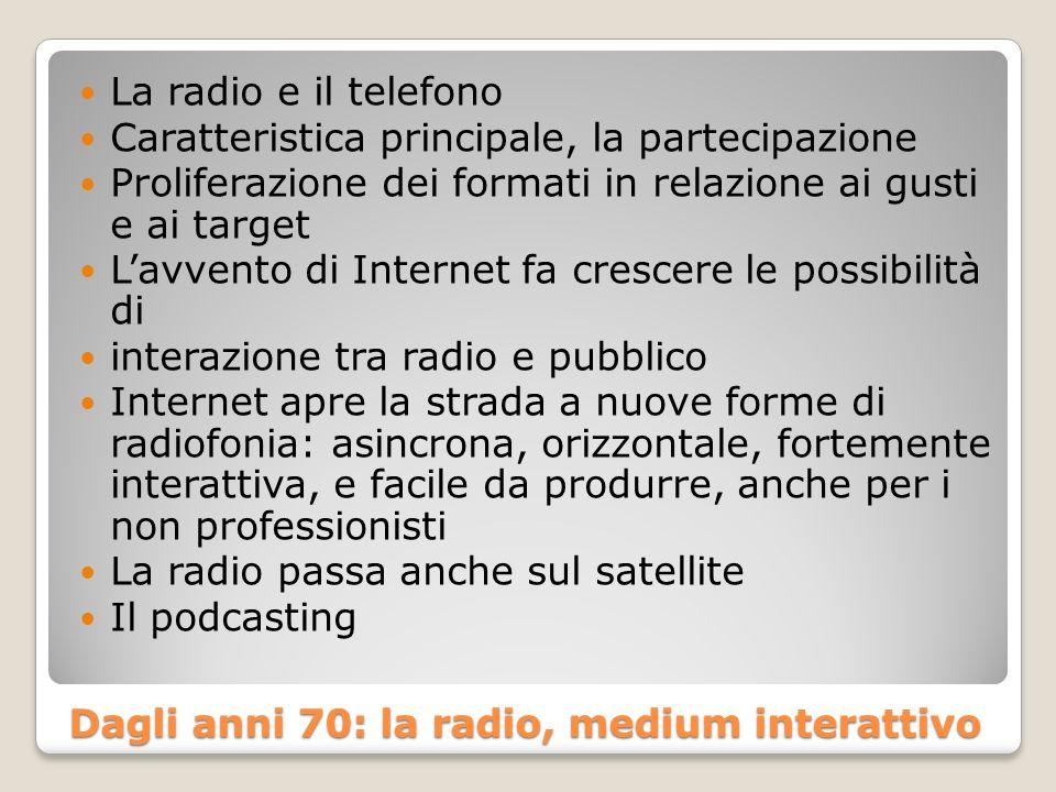 Identità delle radio in Europa e in USA Emittenti europee pedagogiche guardano con diffidenza a programmazione musicale USA RAI e BBC: musica classica, teatro, letteratura.