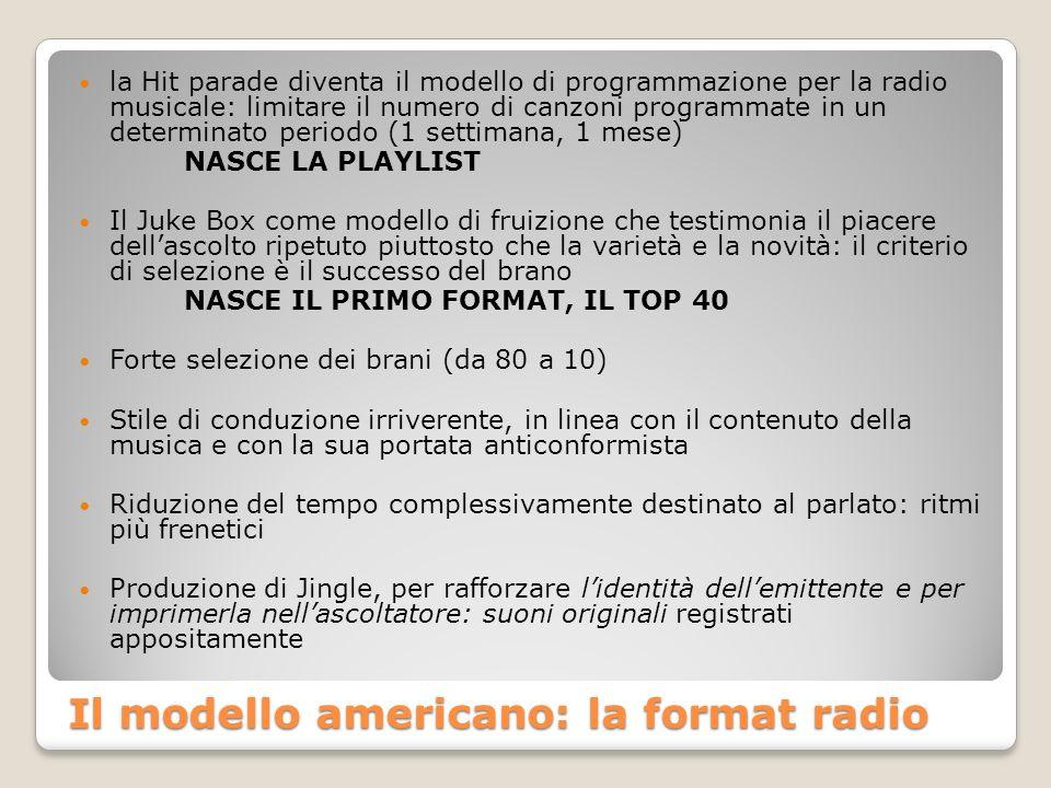 Il modello americano: la format radio la Hit parade diventa il modello di programmazione per la radio musicale: limitare il numero di canzoni programmate in un determinato periodo (1 settimana, 1 mese) NASCE LA PLAYLIST Il Juke Box come modello di fruizione che testimonia il piacere dellascolto ripetuto piuttosto che la varietà e la novità: il criterio di selezione è il successo del brano NASCE IL PRIMO FORMAT, IL TOP 40 Forte selezione dei brani (da 80 a 10) Stile di conduzione irriverente, in linea con il contenuto della musica e con la sua portata anticonformista Riduzione del tempo complessivamente destinato al parlato: ritmi più frenetici Produzione di Jingle, per rafforzare lidentità dellemittente e per imprimerla nellascoltatore: suoni originali registrati appositamente