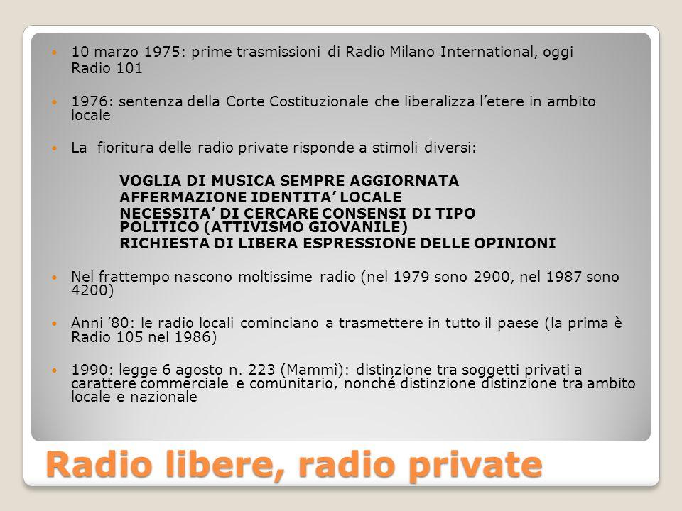Radio libere, radio private 10 marzo 1975: prime trasmissioni di Radio Milano International, oggi Radio 101 1976: sentenza della Corte Costituzionale che liberalizza letere in ambito locale La fioritura delle radio private risponde a stimoli diversi: VOGLIA DI MUSICA SEMPRE AGGIORNATA AFFERMAZIONE IDENTITA LOCALE NECESSITA DI CERCARE CONSENSI DI TIPO POLITICO (ATTIVISMO GIOVANILE) RICHIESTA DI LIBERA ESPRESSIONE DELLE OPINIONI Nel frattempo nascono moltissime radio (nel 1979 sono 2900, nel 1987 sono 4200) Anni 80: le radio locali cominciano a trasmettere in tutto il paese (la prima è Radio 105 nel 1986) 1990: legge 6 agosto n.