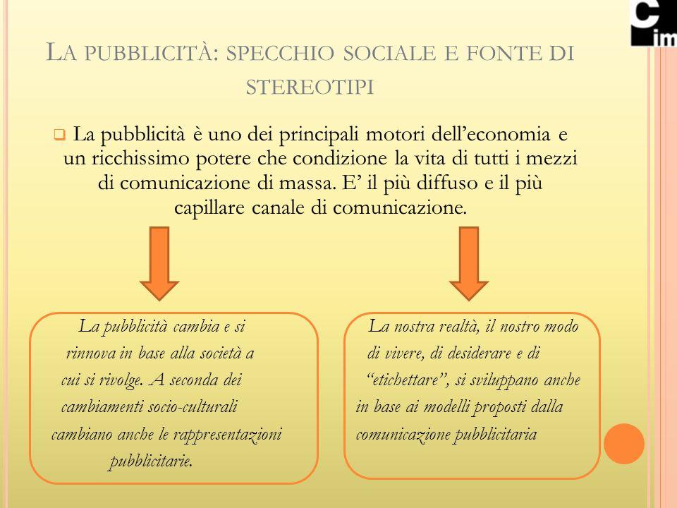 L A PUBBLICITÀ : SPECCHIO SOCIALE E FONTE DI STEREOTIPI La pubblicità è uno dei principali motori delleconomia e un ricchissimo potere che condizione