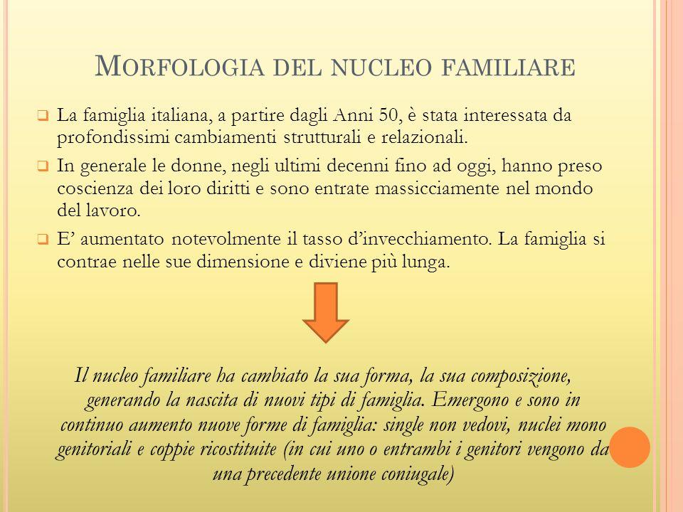 M ORFOLOGIA DEL NUCLEO FAMILIARE La famiglia italiana, a partire dagli Anni 50, è stata interessata da profondissimi cambiamenti strutturali e relazio