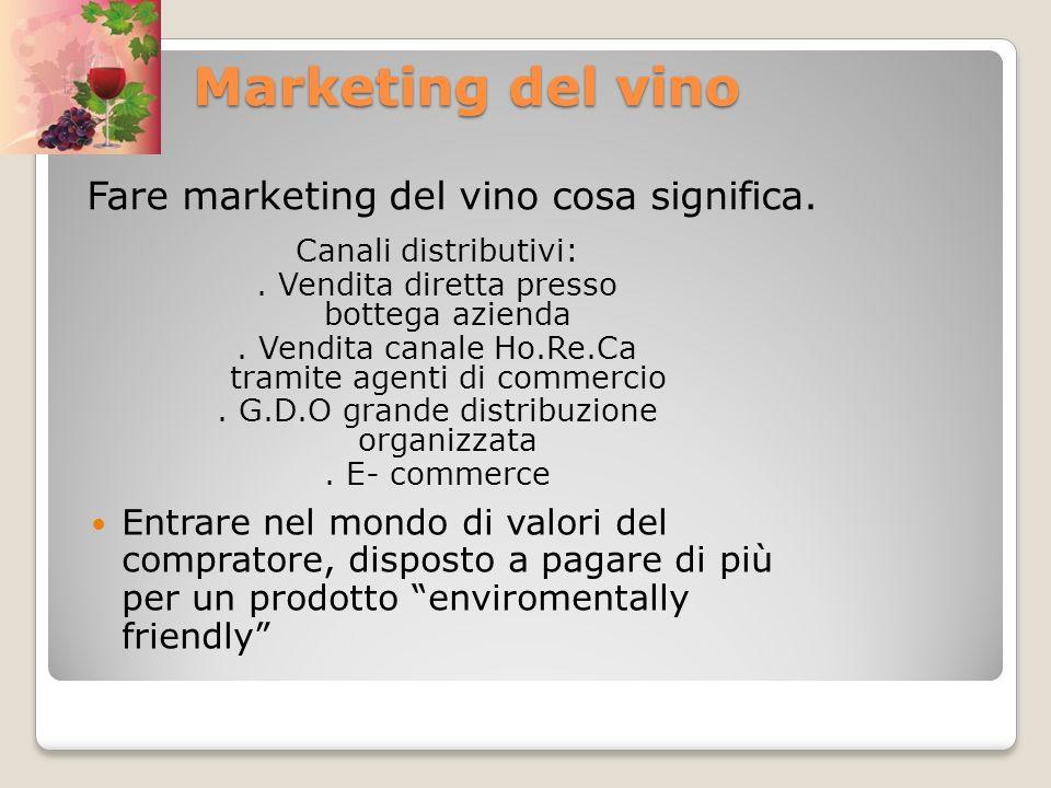 Marketing del vino Marketing del vino Fare marketing del vino cosa significa. Entrare nel mondo di valori del compratore, disposto a pagare di più per