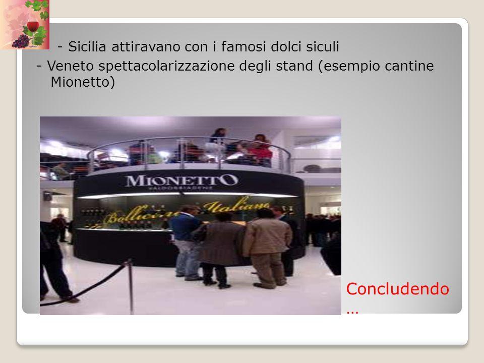 Concludendo … - Sicilia attiravano con i famosi dolci siculi - Veneto spettacolarizzazione degli stand (esempio cantine Mionetto)