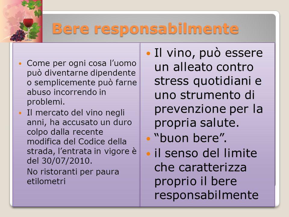 Bere responsabilmente Come per ogni cosa luomo può diventarne dipendente o semplicemente può farne abuso incorrendo in problemi. Il mercato del vino n