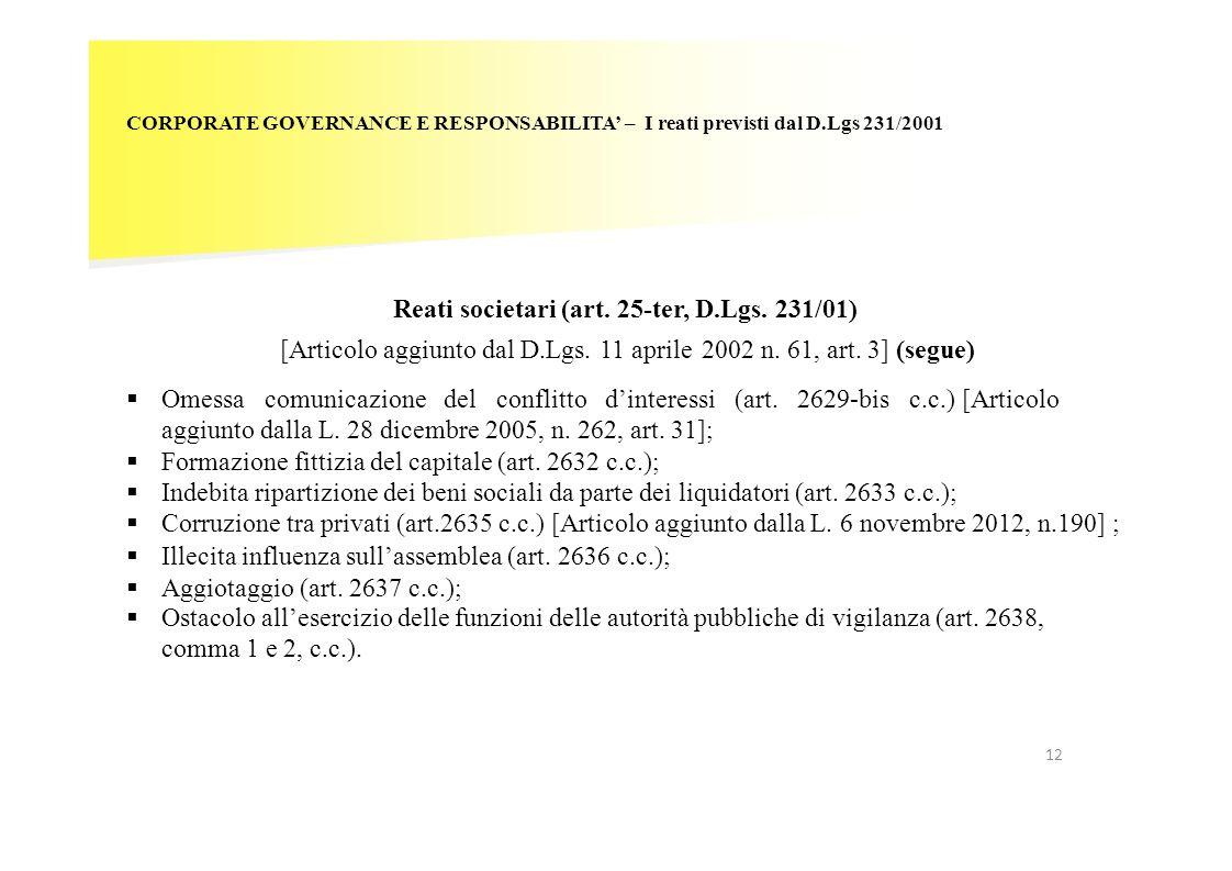 12 CORPORATE GOVERNANCE E RESPONSABILITA – I reati previsti dal D.Lgs 231/2001 Reati societari (art. 25-ter, D.Lgs. 231/01) [Articolo aggiunto dal D.L