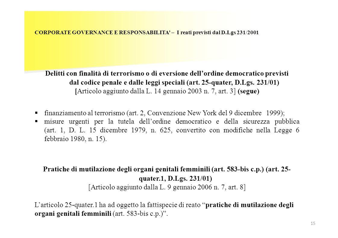15 CORPORATE GOVERNANCE E RESPONSABILITA – I reati previsti dal D.Lgs 231/2001 Delitti con finalità di terrorismo o di eversione dellordine democratic