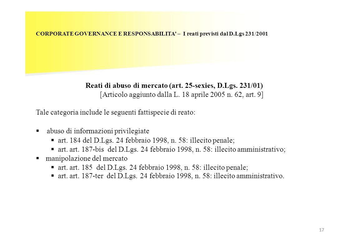 17 CORPORATE GOVERNANCE E RESPONSABILITA – I reati previsti dal D.Lgs 231/2001 Reati di abuso di mercato (art. 25-sexies, D.Lgs. 231/01) [Articolo agg