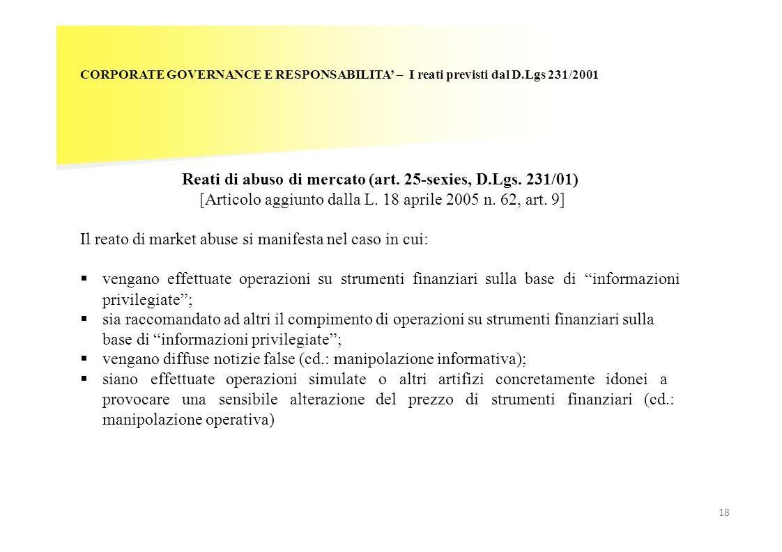 18 CORPORATE GOVERNANCE E RESPONSABILITA – I reati previsti dal D.Lgs 231/2001 Reati di abuso di mercato (art. 25-sexies, D.Lgs. 231/01) [Articolo agg