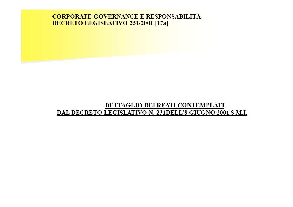 CORPORATE GOVERNANCE E RESPONSABILITÀ DECRETO LEGISLATIVO 231/2001 [17a] DETTAGLIO DEI REATI CONTEMPLATI DAL DECRETO LEGISLATIVO N. 231DELL8 GIUGNO 20