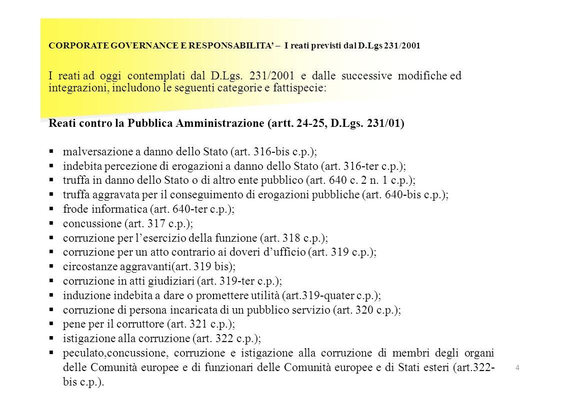 CORPORATE GOVERNANCE E RESPONSABILITA – I reati previsti dal D.Lgs 231/2001 I reati ad oggi contemplati dal D.Lgs. 231/2001 e dalle successive modific