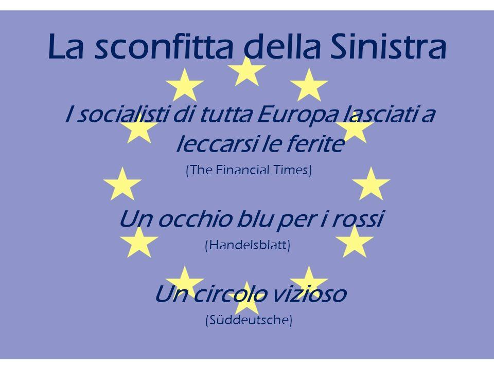 La sconfitta della Sinistra I socialisti di tutta Europa lasciati a leccarsi le ferite (The Financial Times) Un occhio blu per i rossi (Handelsblatt) Un circolo vizioso (Süddeutsche)
