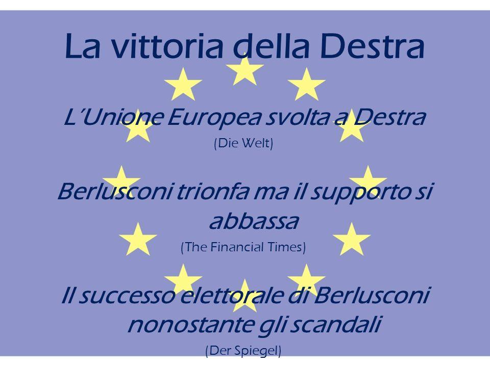 La vittoria della Destra LUnione Europea svolta a Destra (Die Welt) Berlusconi trionfa ma il supporto si abbassa (The Financial Times) Il successo elettorale di Berlusconi nonostante gli scandali (Der Spiegel)