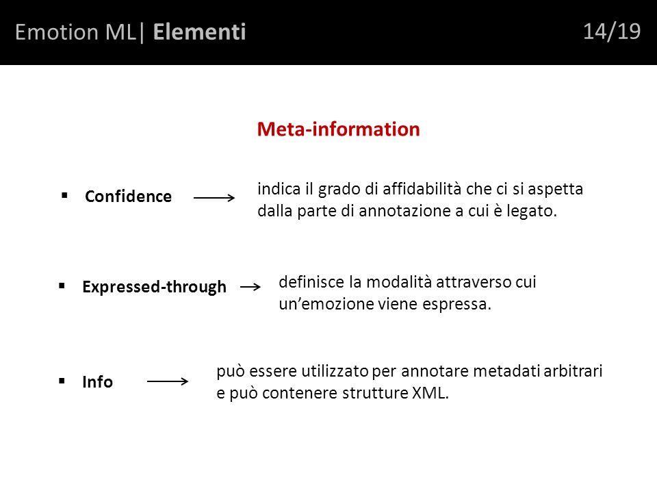 Emotion ML| Elementi 14/19 Meta-information Confidence indica il grado di affidabilità che ci si aspetta dalla parte di annotazione a cui è legato.
