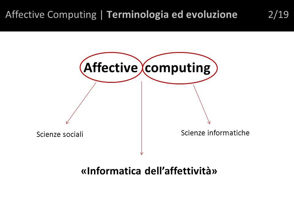 Affective Computing | T erminologia ed evoluzione 2/19 Affective computing Scienze sociali Scienze informatiche «Informatica dellaffettività»