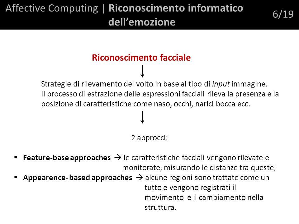 Affective Computing | Riconoscimento informatico dellemozione 6/19 Riconoscimento facciale Strategie di rilevamento del volto in base al tipo di input immagine.