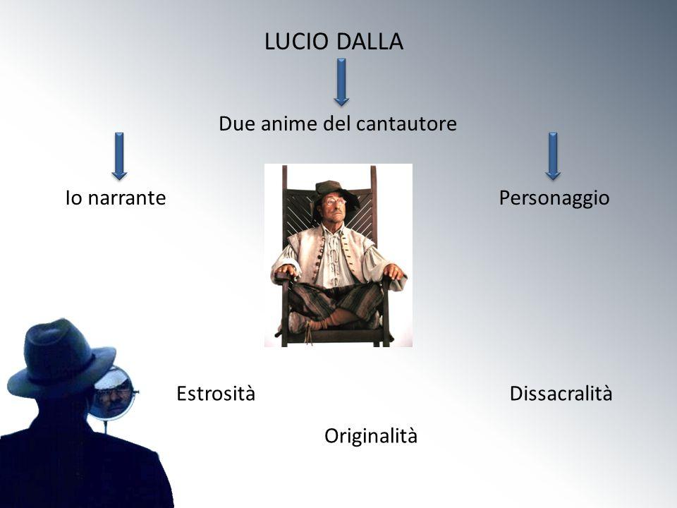 LUCIO DALLA Due anime del cantautore Io narrantePersonaggio Estrosità Originalità Dissacralità