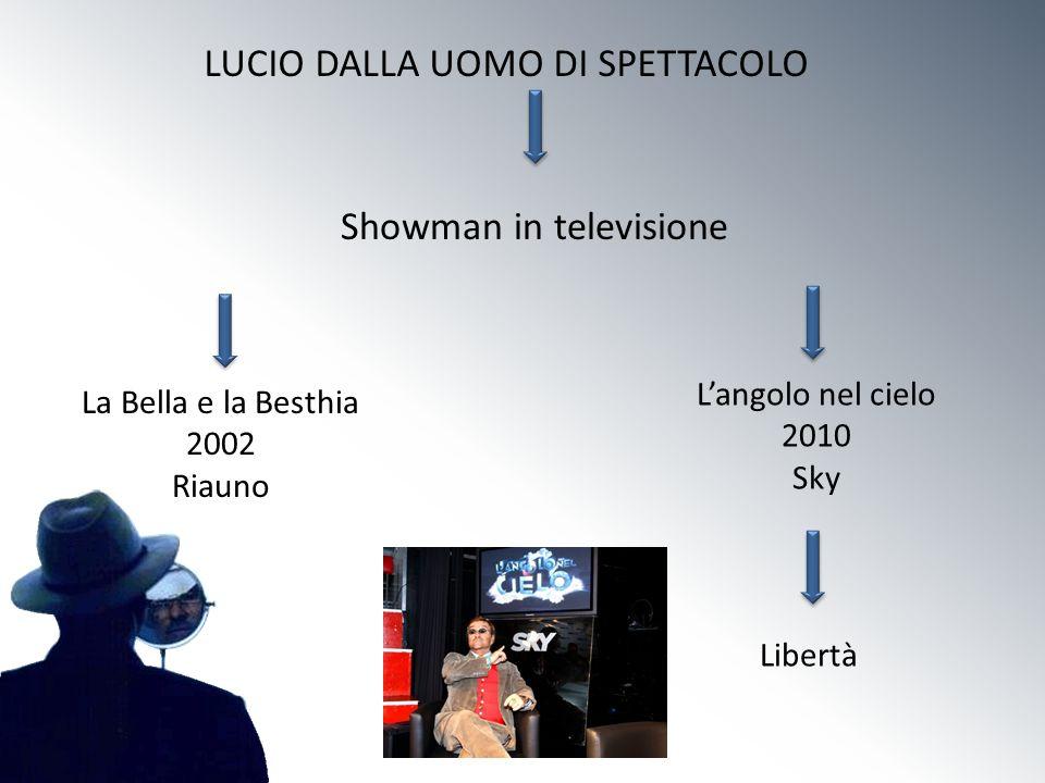 LUCIO DALLA UOMO DI SPETTACOLO Showman in televisione La Bella e la Besthia 2002 Riauno Langolo nel cielo 2010 Sky Libertà