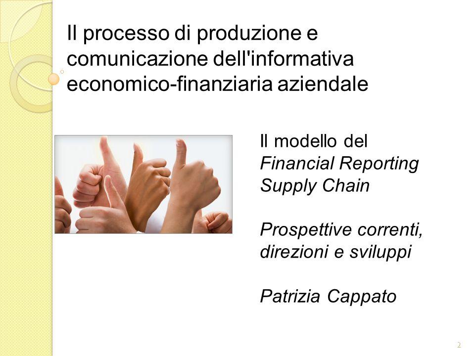 Il modello del Financial Reporting Supply Chain Prospettive correnti, direzioni e sviluppi Patrizia Cappato 2 Il processo di produzione e comunicazione dell informativa economico-finanziaria aziendale
