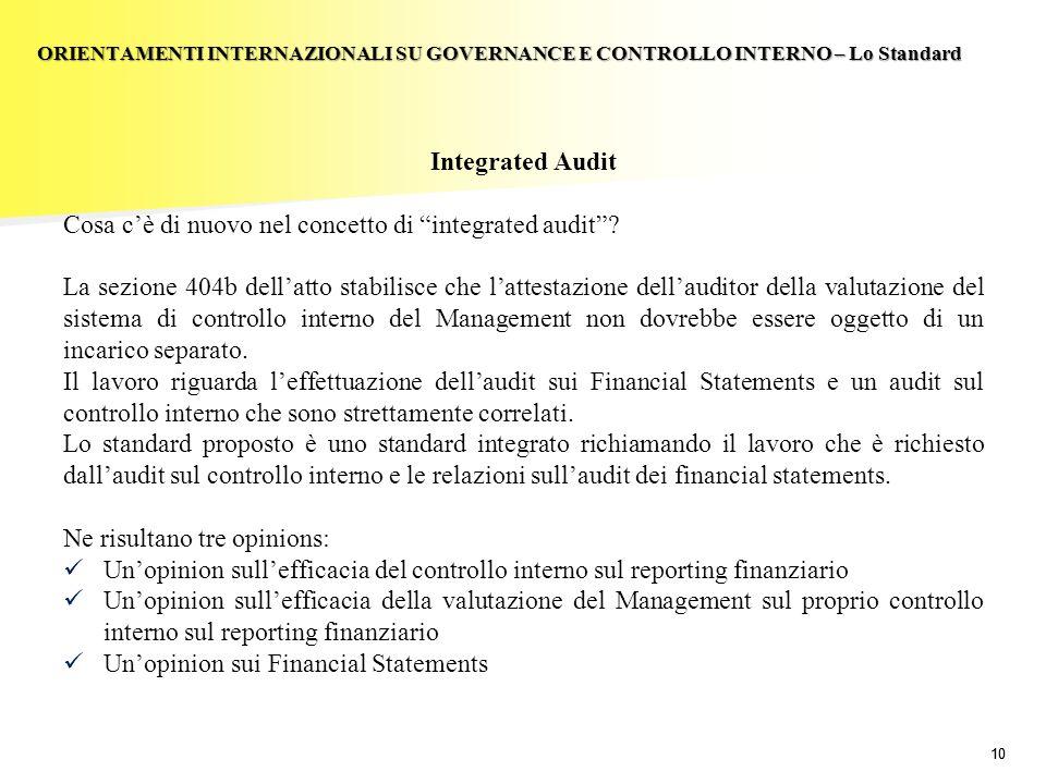 10 Integrated Audit Cosa cè di nuovo nel concetto di integrated audit? La sezione 404b dellatto stabilisce che lattestazione dellauditor della valutaz