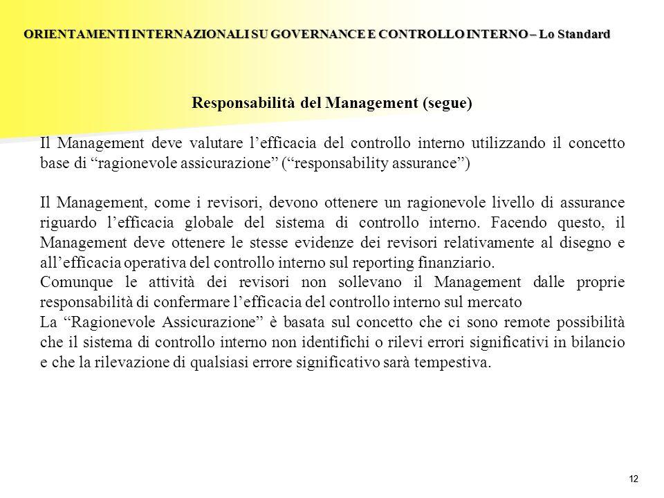 12 Responsabilità del Management (segue) Il Management deve valutare lefficacia del controllo interno utilizzando il concetto base di ragionevole assi