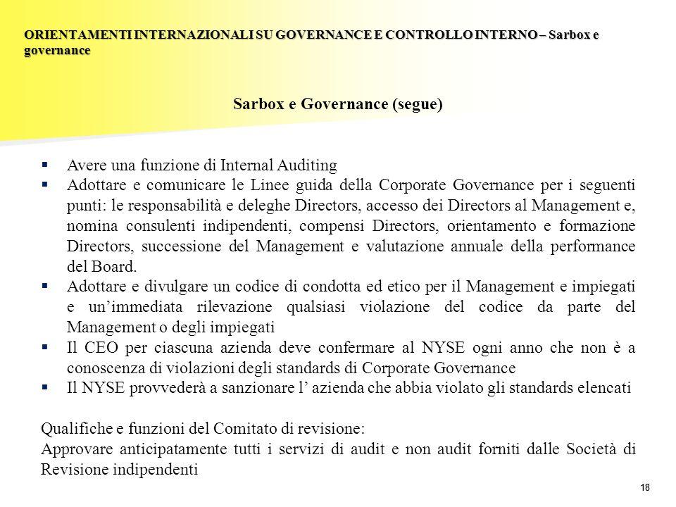 18 Sarbox e Governance (segue) Avere una funzione di Internal Auditing Adottare e comunicare le Linee guida della Corporate Governance per i seguenti