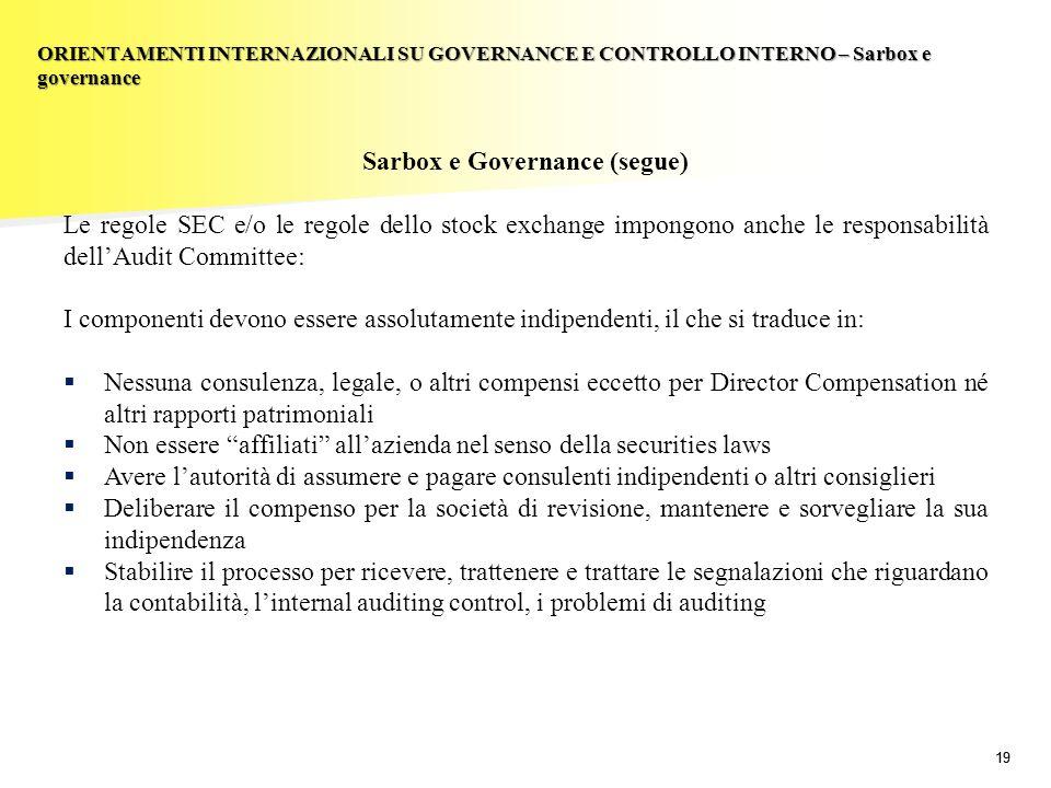 19 Sarbox e Governance (segue) Le regole SEC e/o le regole dello stock exchange impongono anche le responsabilità dellAudit Committee: I componenti de