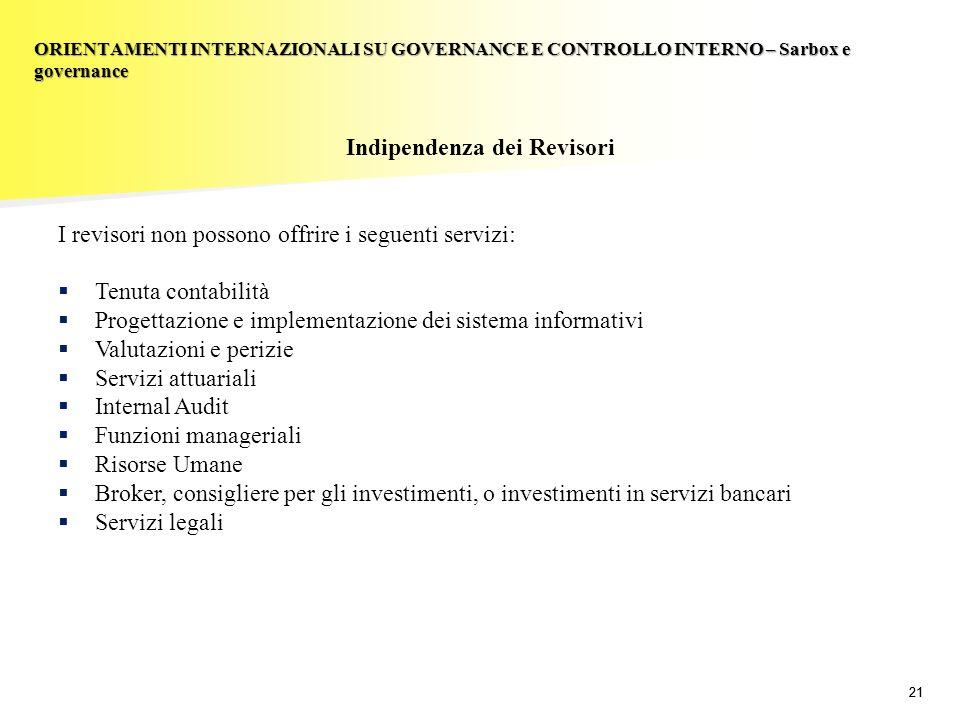 21 Indipendenza dei Revisori I revisori non possono offrire i seguenti servizi: Tenuta contabilità Progettazione e implementazione dei sistema informa