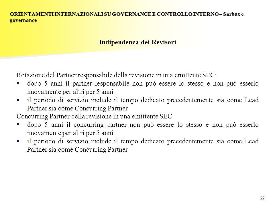 22 Indipendenza dei Revisori Rotazione del Partner responsabile della revisione in una emittente SEC: dopo 5 anni il partner responsabile non può esse