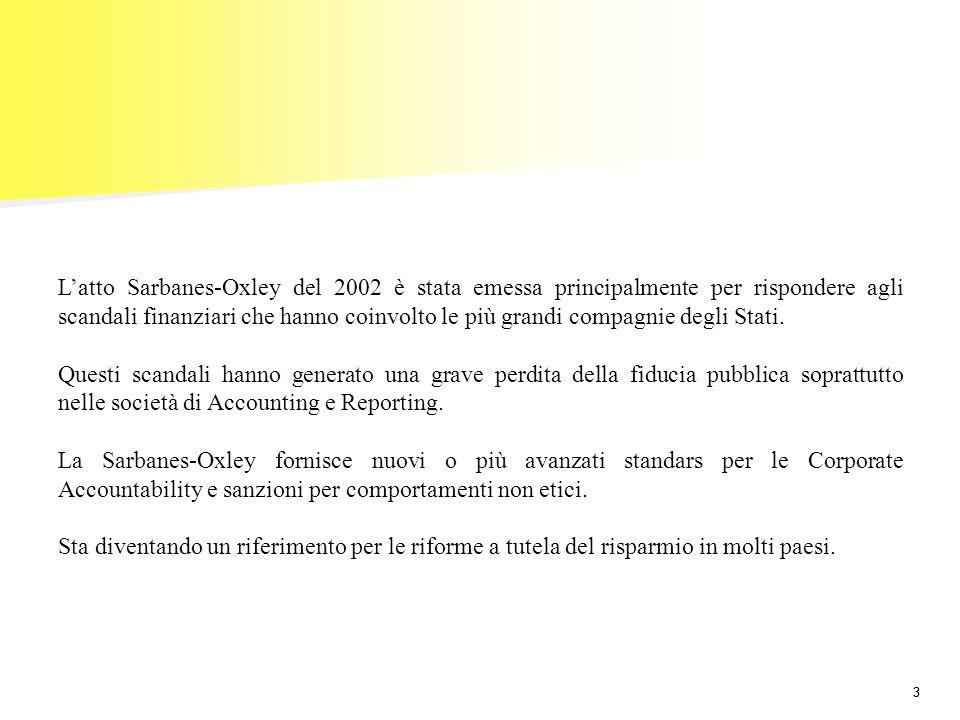 33 Latto Sarbanes-Oxley del 2002 è stata emessa principalmente per rispondere agli scandali finanziari che hanno coinvolto le più grandi compagnie deg