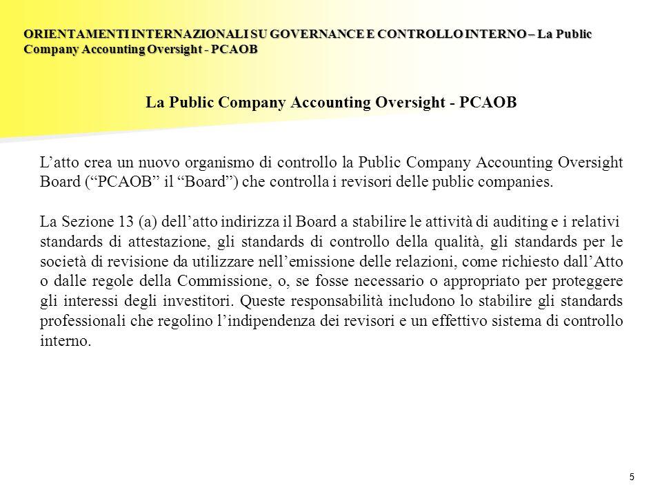 55 La Public Company Accounting Oversight - PCAOB Latto crea un nuovo organismo di controllo la Public Company Accounting Oversight Board (PCAOB il Bo