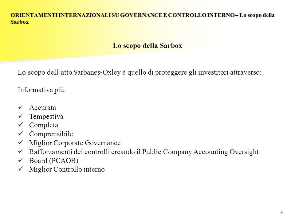 66 Lo scopo della Sarbox Lo scopo dellatto Sarbanes-Oxley è quello di proteggere gli investitori attraverso: Informativa più: Accurata Tempestiva Comp