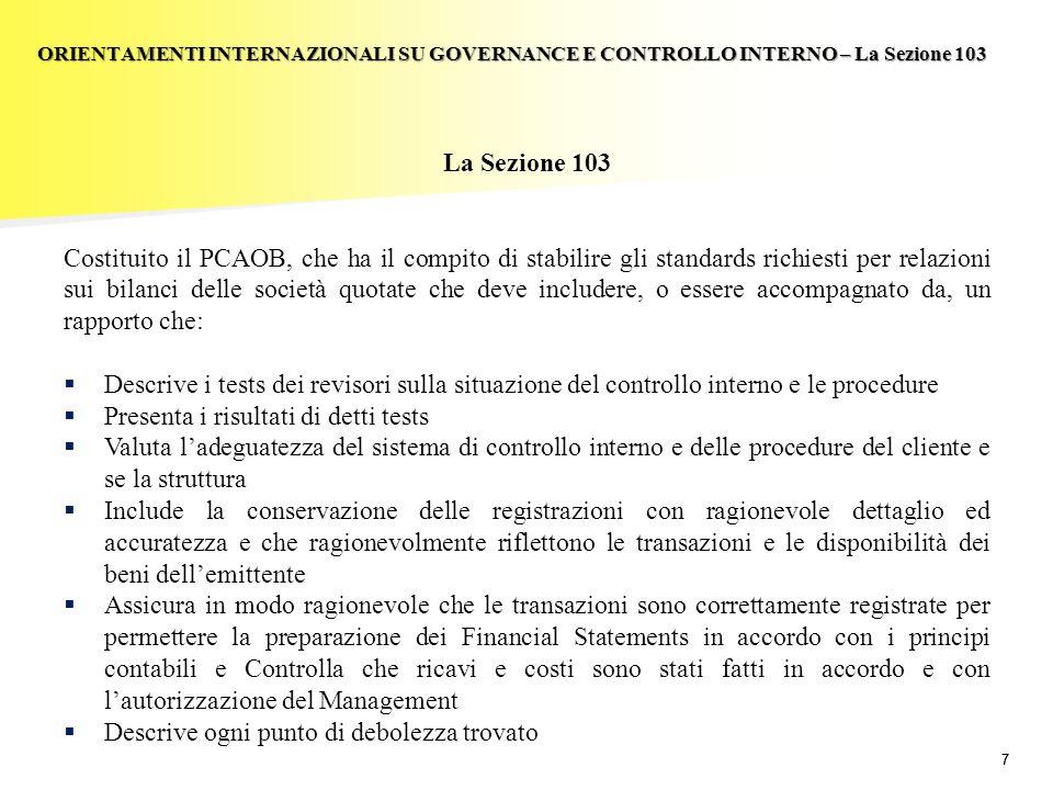 77 La Sezione 103 Costituito il PCAOB, che ha il compito di stabilire gli standards richiesti per relazioni sui bilanci delle società quotate che deve