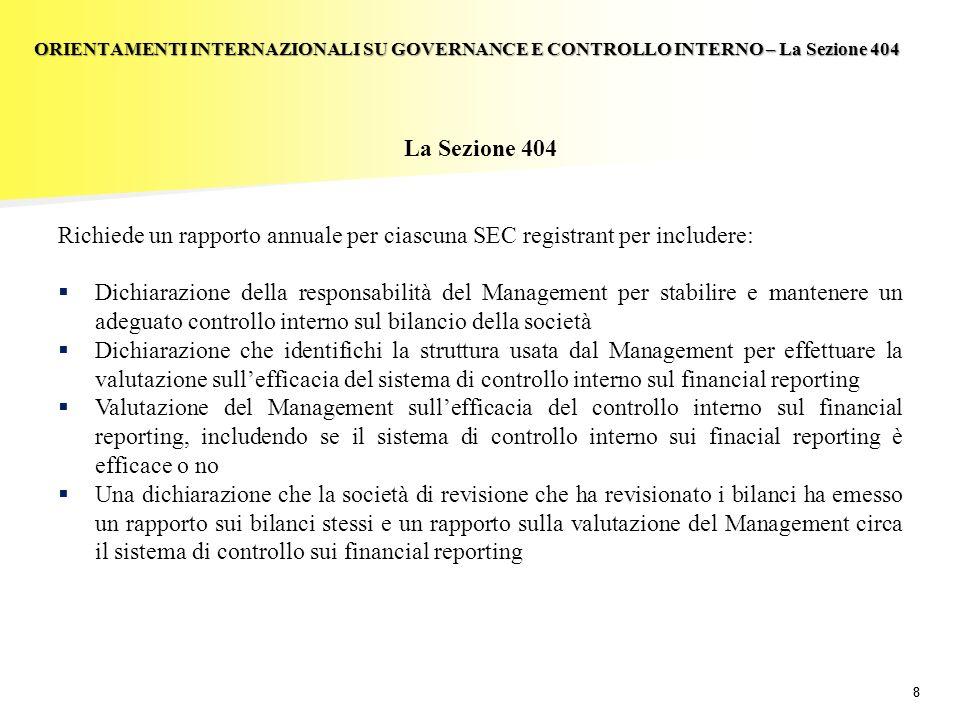 88 La Sezione 404 Richiede un rapporto annuale per ciascuna SEC registrant per includere: Dichiarazione della responsabilità del Management per stabil