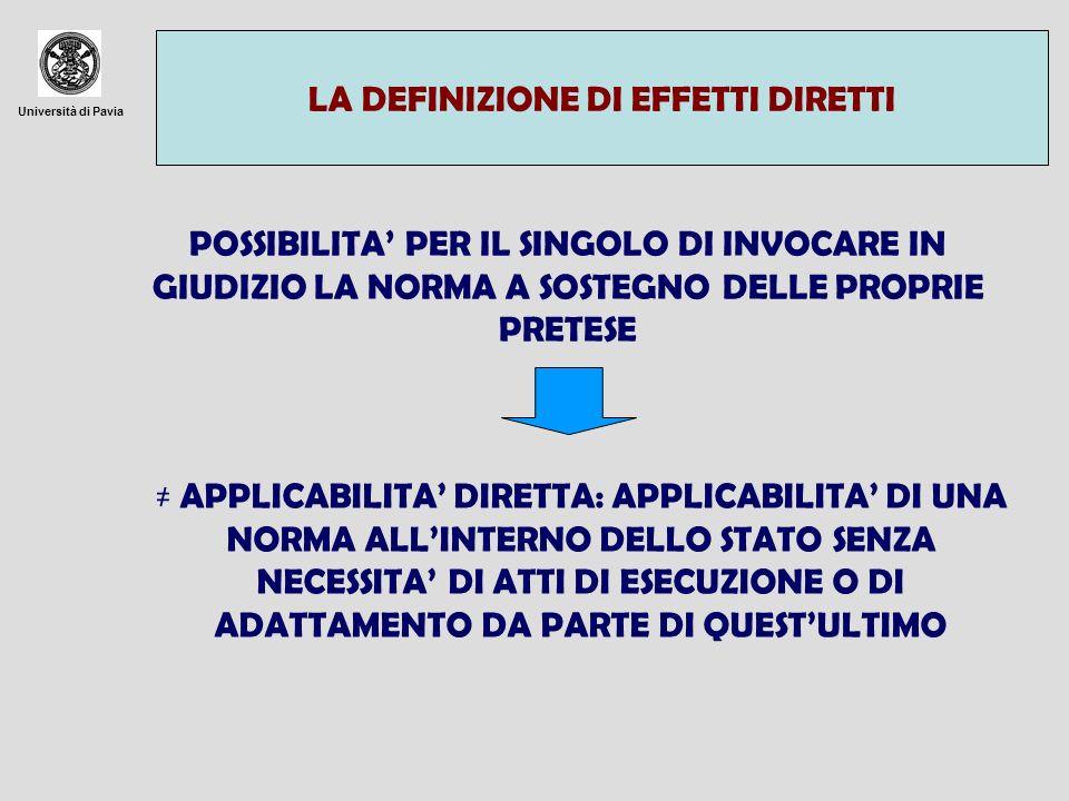 Università di Pavia GLI EFFETTI DIRETTI DELLE DECISIONI DECISIONI CON DESTINATARI DECISIONI SENZA INDICAZIONE DEI DESTINATARI QUELLE RIVOLTE AGLI STATI PRODUCONO EFFETTI DIRETTI SOLO VERTICALI PRODUCONO EFFETTI DIRETTI VERTICALI SE ATTRIBUISCONO DIRITTI AI SINGOLI.