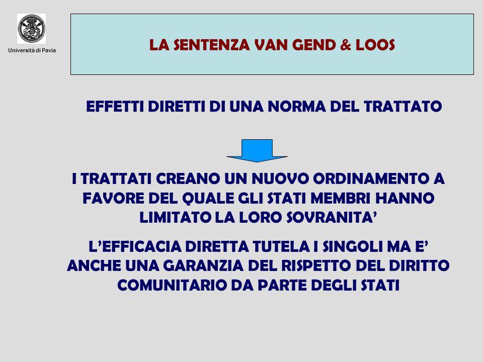 Università di Pavia LA SENTENZA VAN GEND & LOOS EFFETTI DIRETTI DI UNA NORMA DEL TRATTATO I TRATTATI CREANO UN NUOVO ORDINAMENTO A FAVORE DEL QUALE GL