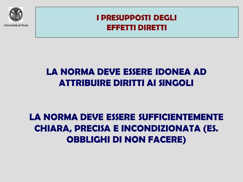 Università di Pavia I PRESUPPOSTI DEGLI EFFETTI DIRETTI LA NORMA DEVE ESSERE IDONEA AD ATTRIBUIRE DIRITTI AI SINGOLI LA NORMA DEVE ESSERE SUFFICIENTEM