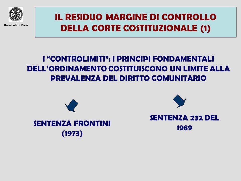Università di Pavia IL RESIDUO MARGINE DI CONTROLLO DELLA CORTE COSTITUZIONALE (1) Università di Pavia I CONTROLIMITI: I PRINCIPI FONDAMENTALI DELLORD