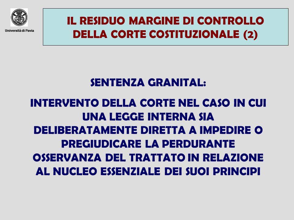 Università di Pavia IL RESIDUO MARGINE DI CONTROLLO DELLA CORTE COSTITUZIONALE (2) Università di Pavia SENTENZA GRANITAL: INTERVENTO DELLA CORTE NEL C