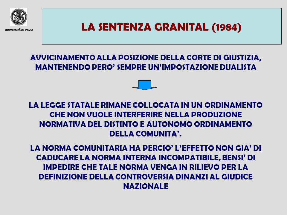 Università di Pavia LA SENTENZA GRANITAL (1984) Università di Pavia AVVICINAMENTO ALLA POSIZIONE DELLA CORTE DI GIUSTIZIA, MANTENENDO PERO SEMPRE UNIM