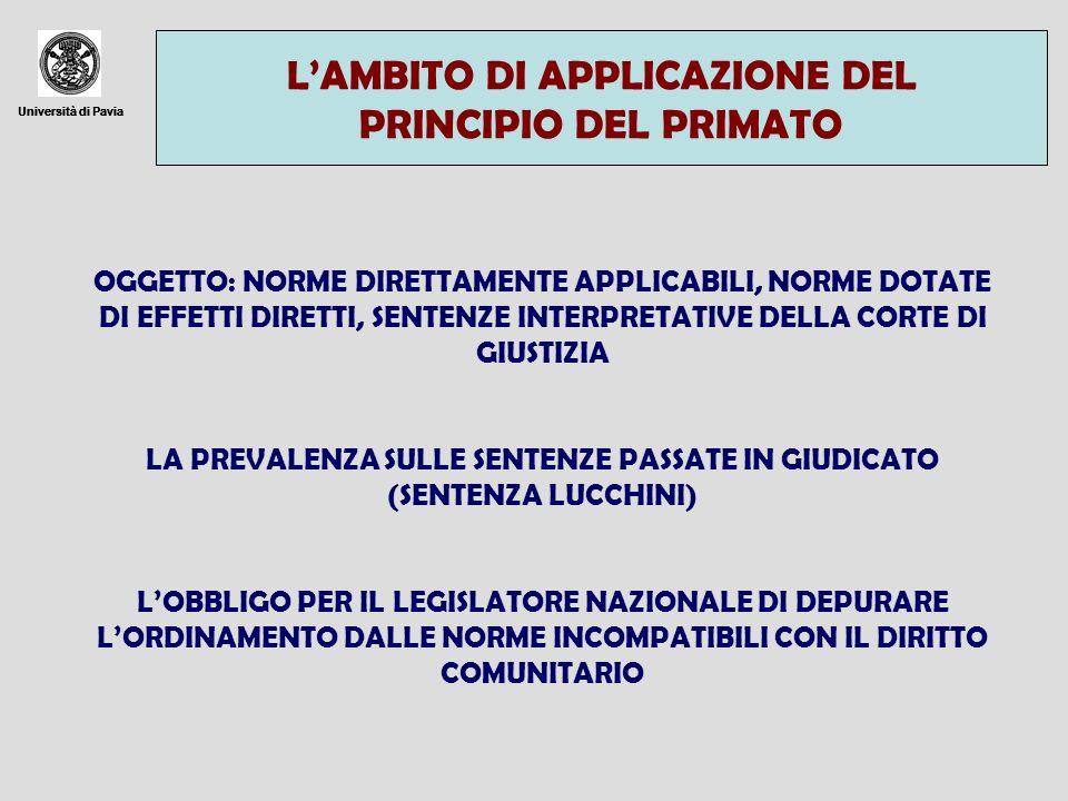 Università di Pavia LAMBITO DI APPLICAZIONE DEL PRINCIPIO DEL PRIMATO Università di Pavia OGGETTO: NORME DIRETTAMENTE APPLICABILI, NORME DOTATE DI EFF