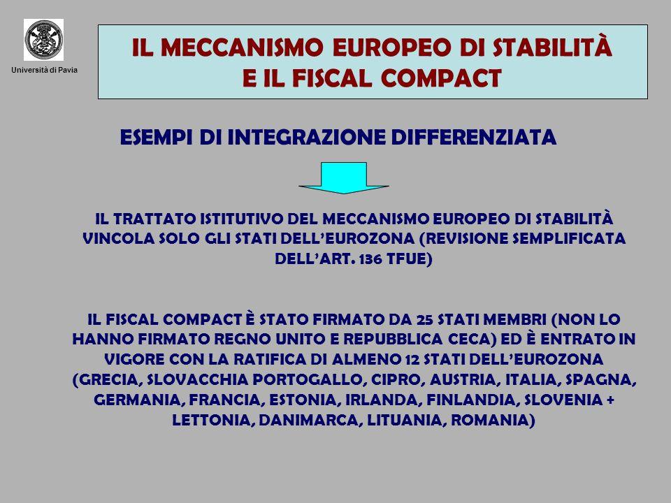 Università di Pavia GLI ULTERIORI STRUMENTI PROPOSTI CREAZIONE DI UN REALE GOVERNO ECONOMICA DELLA ZONA EURO POLITICA FISCALE E BILANCIO IL PROBLEMA DEL CONTROLLO DEMOCRATICO