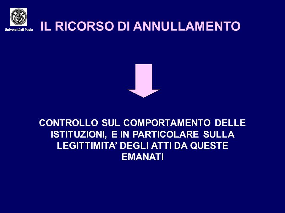 Università di Pavia IL RICORSO DI ANNULLAMENTO CONTROLLO SUL COMPORTAMENTO DELLE ISTITUZIONI, E IN PARTICOLARE SULLA LEGITTIMITA DEGLI ATTI DA QUESTE