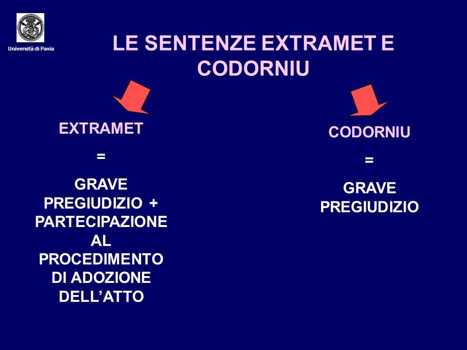 Università di Pavia LE SENTENZE EXTRAMET E CODORNIU EXTRAMET = GRAVE PREGIUDIZIO + PARTECIPAZIONE AL PROCEDIMENTO DI ADOZIONE DELLATTO CODORNIU = GRAV