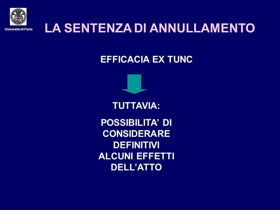 Università di Pavia LA SENTENZA DI ANNULLAMENTO EFFICACIA EX TUNC TUTTAVIA: POSSIBILITA DI CONSIDERARE DEFINITIVI ALCUNI EFFETTI DELLATTO